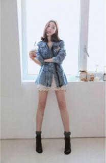 Women Lady Denim Trench Coat Outerwear Jean Wear Jacket QZ2