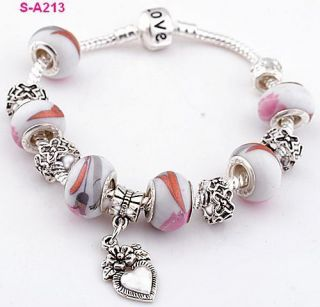 porcelain silver European beaded charms designed love bracelet S A212