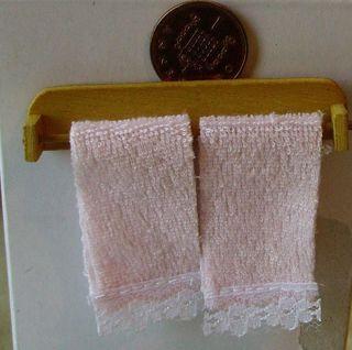 12 Scale Towel Rail 2 Pink Towels Dolls House Miniature Bathroom