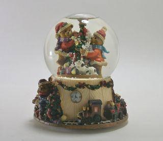 Bear Mountain Christmas Snow Globe Music Box