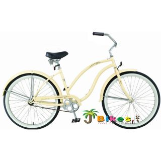 Beach Cruiser Bicycle bikes, Firmstrong DIVA 26 Womens VANILLA with