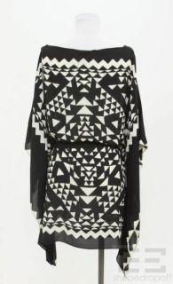BCBG Max Azria Black & White Geometric Print Poncho Top Size M/L