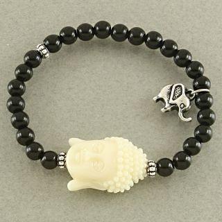 Black Cream Buddha Beaded Stretch Charm Bracelet