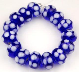 Handmade Lampwork Glass Beads Cobalt Blue White Polka Dot Rondelle