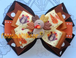 M2M FALL THANKSGIVING CLAY GOBBLE TURKEY LEAVES LAYERED HAIR BOW