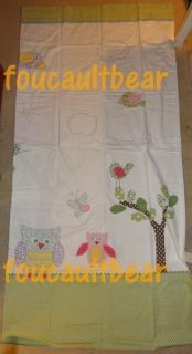 Pottery Barn Kids Hayley Owl Bird Fabric Bath Shower Curtain Patchwork