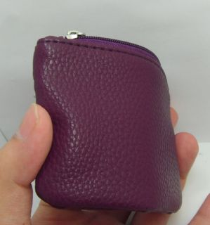 Small Mini Wallet Coin Purse Key Pouch Soft Leather 2 Zippered Section
