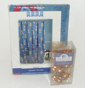 NEW Blue Jean TEDDY BEAR Fabric SHOWER CURTAIN & HOOKS Set Jubilee