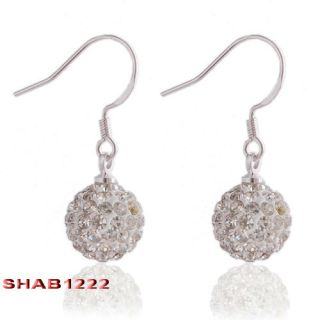 Crystal Disco Ball Beaded Earring Dangle Clay Rhinestone Silver Plated