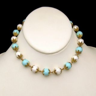 Vintage Acrylic Aqua White Beads Necklace Fancy Spiked Caps Adjustable