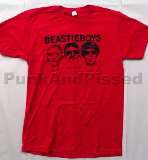 Beastie Boys 3 Heads and Logo Red T Shirt Official Fast SHIP