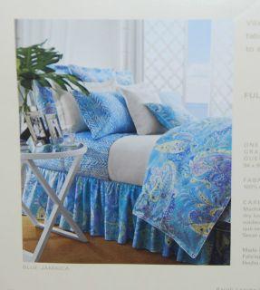 Ralph Lauren Blue Turquoise Jamaica Paisley Full Queen Duvet Comforter