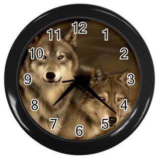 New Womens Brown Wolf Wall Clock Bedding Kitchen Bath Gift Mens Free
