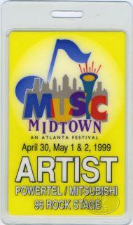 Kid Rock Black Crowes 1999 Laminated Backstage Pass Music Midtown