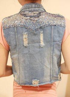 Casual Womens Punk Jean Vest Sleeveless Jacket Sequins Denim Waistcoat