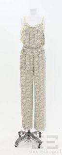 BCBG Paris Tan Cream Yellow Printed Sleeveless Jumpsuit Size 6