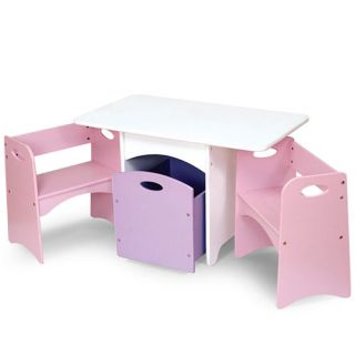 KidKraft Kids Wood Table 2 Pastel Benches Toy Storage