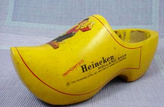 Vintage Yellow Heineken Holland Beer Wood Wooden Dutch Shoe Clog