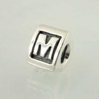 Authentic Pandora Sterling Silver Letter M Charm Bead