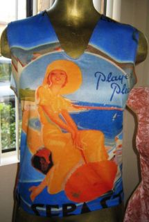 Players Please Chic Pin Up Retro Bathing Beauty Top by Ivory Size