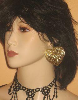 New Clip on Earrings Filigree Puffed Heart Yellow Gold Tone Jewelry