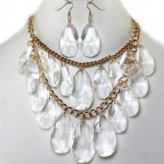 Ice Crystal Bead Bib Earrings Necklace Set Costume Jewelry