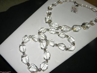 Cookie Lee Pure Ice Necklace Bracelets Set NWT nwot Glass Beads Silver