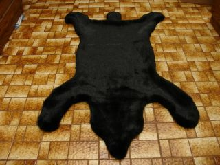 New Rustic Cabin Lodge Black Bear Carpet Rug Furry Faux Fur Throw