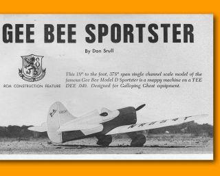 Radio Conrol Plan Gee Bee Sporser Scale RC Model Airplane Plans