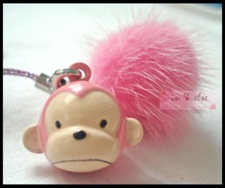Pink Monkey Tuft Bell Mobile Cell Phone Charm Strap 6