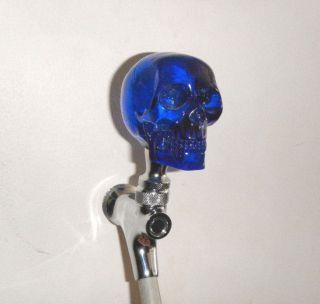 Custom Beer Tap Handle Clear Blue Skull Kegerator Resin Skeleton Head