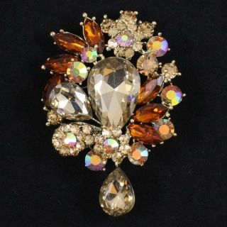 Rhinestone Crystals Chic Beauty Brown Flower Pendant Brooch Pin w 3 1