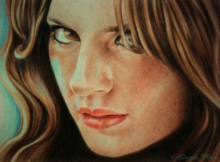 original pencil drawing of Kate Beckett Stana Katic   Art by Sarah Mac