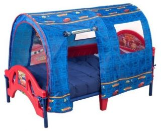 McQueen Toddler Bed Frame Boys Red Blue Kids Size 2 Safety Rails Tent