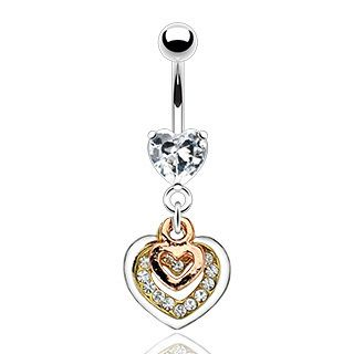 CZ Hearts Belly Ring Dangle Navel B377 Button Piercing Jewelry