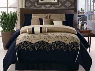 7PC Comforter Set Brown Black Beige Embroidery King Size Bed in a Bag