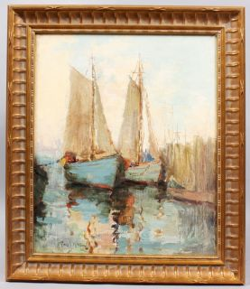 PAUL BERNARD KING LISTED AMERICAN ANTIQUE IMPRESSIONIST BOAT HARBOR