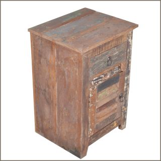 Reclaimed Wood Distressed Bedside End Table Nightstand Storage Cabinet