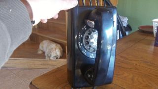 Bell Telephone Wall Mount Black Rotary Phone