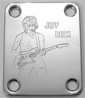 Parts NECK PLATE Custom Engraved Etched Fit Fender JEFF BECK   CHROME