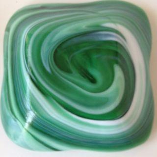 Vtg Imperial Glass Slag Ashtray Olden End of Day Green White Heavy 6