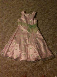 Berri Blue Girls Pink Polka Dot Sleeveless Dress Size 12