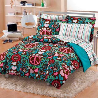 Heart Flower Retro Xltwin Twin Bed in A Bag Teen Girls Bedding