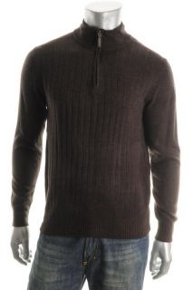 Geoffrey Beene New Brown Ribbed Long Sleeve Mock Neck 1 2 Zip Sweater