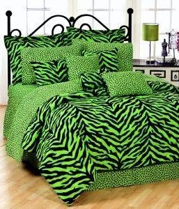 Zebra Green 8PC Queen Bed in A Bag Comforter Set Animal