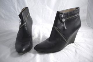 Belle Sigerson Morrison Wedge Shoes Ankle Boots Leather Black 7 5