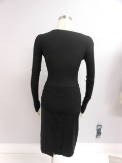 Rebecca Beeson  Black Extra Long Sleeves Textured Knot Bust
