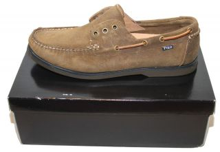 Mens Polo Ralph Lauren Bedminster Vintage Seude Boat Shoes $90 Grey