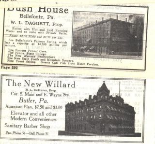 1918 Ad H Bush House Hotel Bellefonte The New Willard Butler