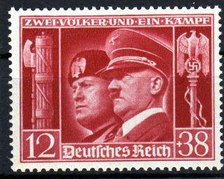 German Nazi Rare stamp Benito Mussolini Adolf Hitler Eagle Swastika 12